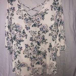 Floral Blouse with tied back detail